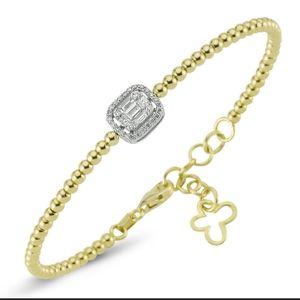 14k VS/SI beaded cuff bracelet
